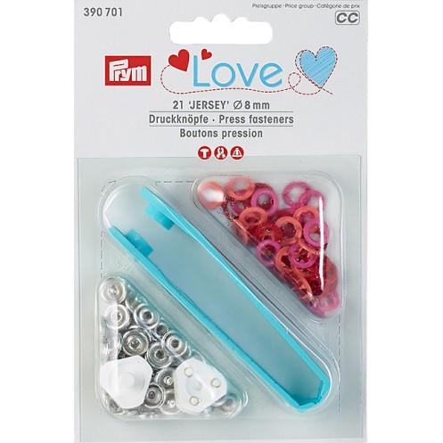 Кнопки Love Jersey красные, оранжевые, розовые, 8мм PRYM 390701 - Интернет-магазин