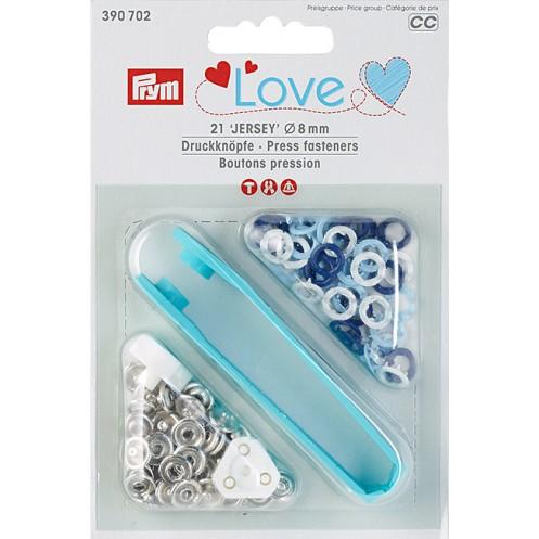 Кнопки Prym Love Jersey синие, голубые, белые, 8мм  PRYM 390702 - Интернет-магазин