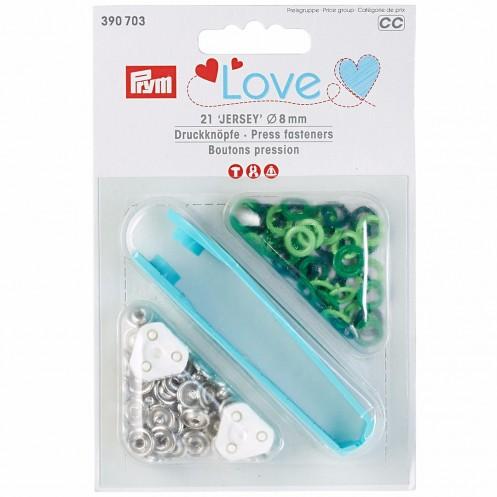 """Кнопки """"Джерси"""" салатовые, зеленые, темно зеленые, 8мм PRYM Love 390703 - Интернет-магазин"""