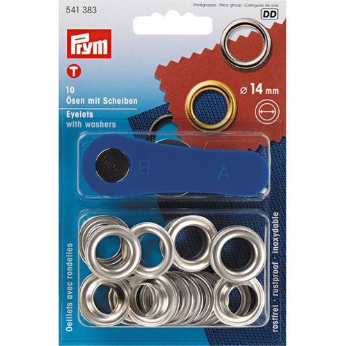 Люверсы серебристые, 14 мм PRYM 541383 - Интернет-магазин