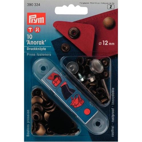 Кнопки Анорак состаренная латунь, 12 мм PRYM 390334 - Интернет-магазин
