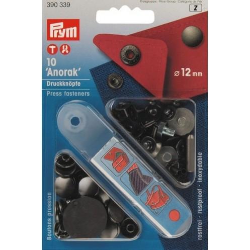 Кнопки Анорак черные, 12 мм  PRYM 390339 - Интернет-магазин