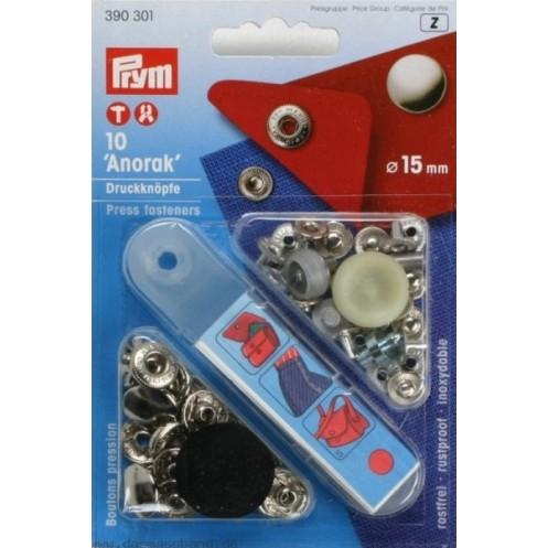 Кнопки Анорак серебристые, 15 мм PRYM 390301 - Интернет-магазин