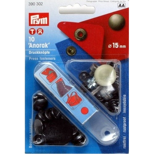 """Кнопки """"Анорак"""" черные, 15 мм PRYM 390302 - Интернет-магазин"""