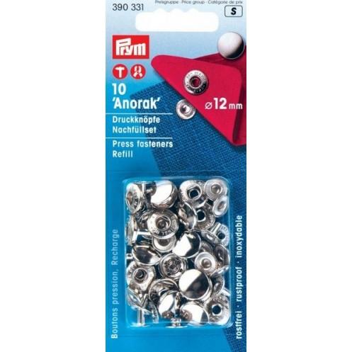 Пополняемая упаковка для кнопок Анорак серебристые, 12 мм PRYM 390331 - Интернет-магазин