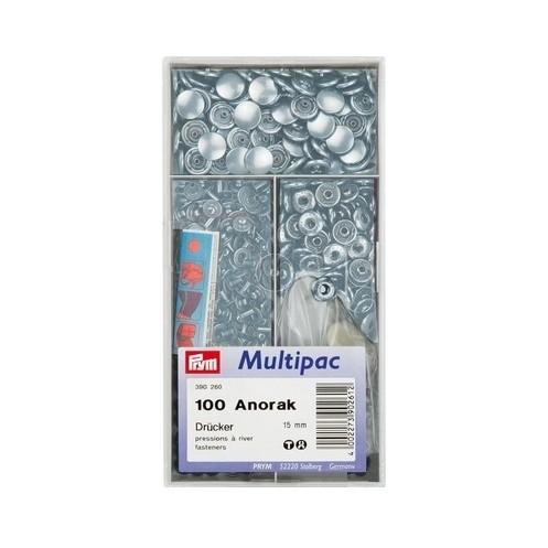 Кнопки Анорак серебристые, 15 мм в мультиупаковке PRYM 390260 - Интернет-магазин