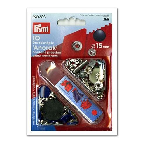 """Кнопки """"Анорак"""" синие, 15 мм PRYM 390303 - Интернет-магазин"""