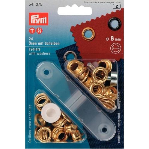 Люверсы золотистые, 8 мм PRYM 541375 - Интернет-магазин