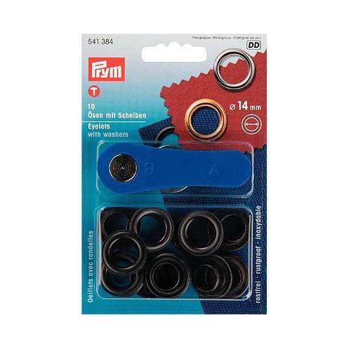 Люверсы черные, 14 мм PRYM 541384 - Интернет-магазин