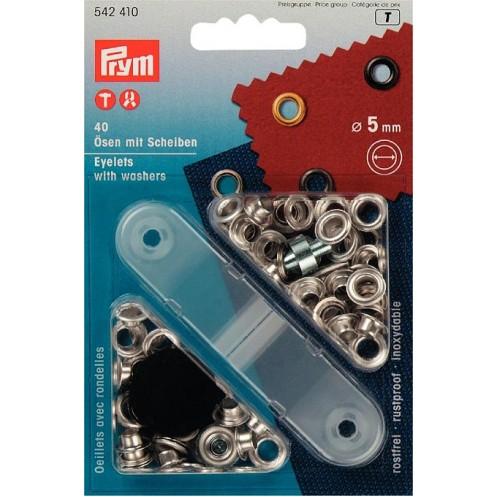 Люверсы серебристые, 5 мм PRYM 542410 - Интернет-магазин