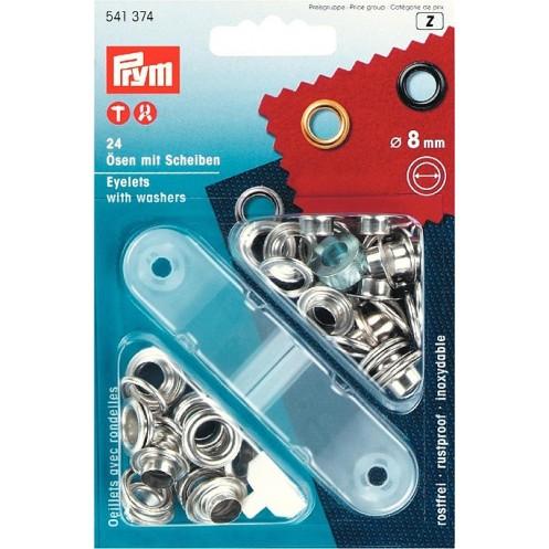 Люверсы серебристые, 8 мм  PRYM 541374 - Интернет-магазин